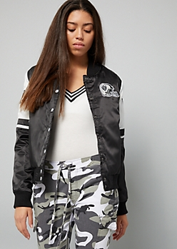 NFL Oakland Raiders Black Colorblock Bomber Jacket