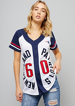 NFL New England Patriots White Varsity Striped Circle Jersey