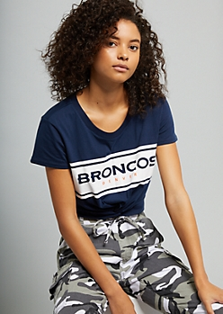 NFL Denver Broncos Navy Colorblock Knot Graphic Crop Top
