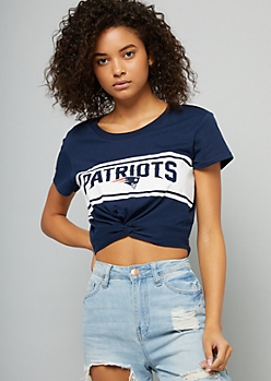 NFL New England Patriots Navy Striped Knot Front Crop Top
