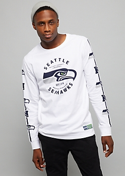 NFL Seattle Seahawks White Logo Sleeve Crew Neck Tee