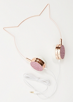 Rose Gold Glitter Cat Ear Headphones