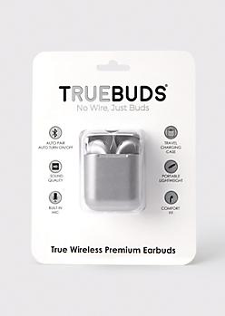Silver Metallic Wireless Earbuds