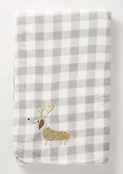 Gray Plaid Print Reindeer Plush Blanket