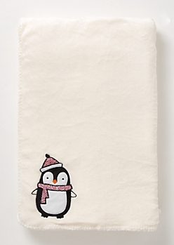 Ivory Sequin Penguin Plush Blanket