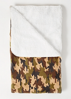 Camo Print Plush Blanket