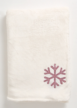 Ivory Sequin Snowflake Plush Blanket