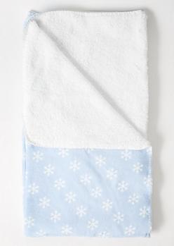 Blue Snowflake Print Plush Blanket