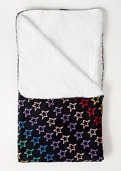 Black Rainbow Star Print Plush Blanket