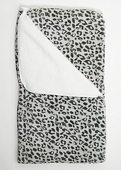 Gray Leopard Print Cozy Throw Blanket