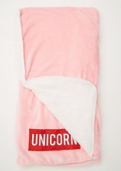 Pink Unicorn Graphic Cozy Throw Blanket