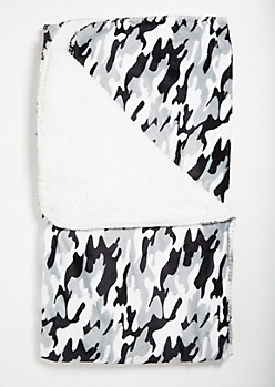 Gray Camo Print Cozy Throw Blanket