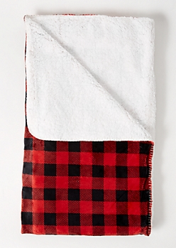 Red Plaid Print Plush Blanket