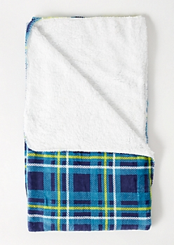 Navy Plaid Print Plush Blanket