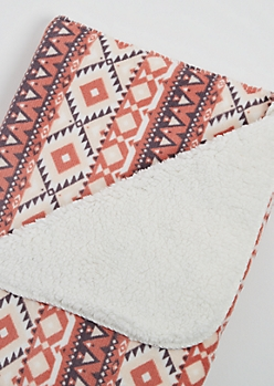 Coral Aztec Plush Blanket