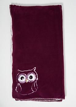 Purple Sequin Owl Cozy Throw Blanket