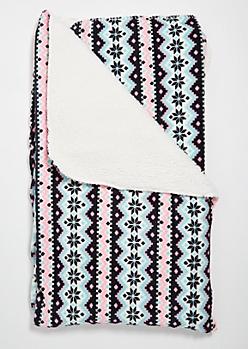 Teal Fair Isle Pattern Cozy Throw Blanket