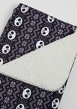Panda Fair Isle Plush Blanket