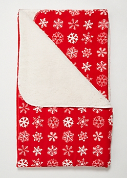 Red Snowflake Cozy Throw Blanket