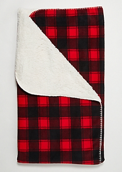 Red Plaid Print Cozy Throw Blanket