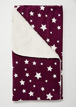 Purple Star Cozy Throw Blanket
