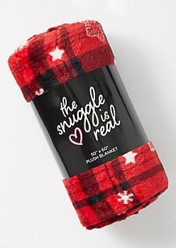 Red Plaid Print Snowflake Plush Blanket