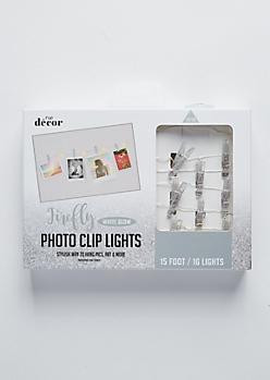 Silver Glitter Firefly Photo Clip String Lights