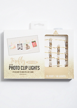 Gold Glitter Photo Clip Firefly String Lights