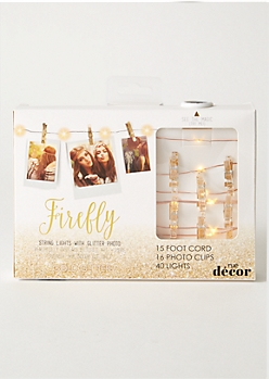 Gold Glitter Firefly Photo Clip Lights