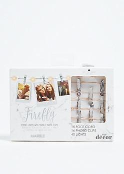 White Marble Firefly Photo Clip String Lights