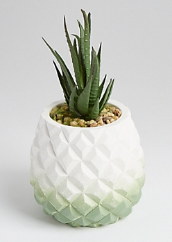 Faux Haworthia Geo Potted Succulent