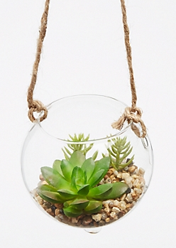 Glass Hanging Faux Succulent