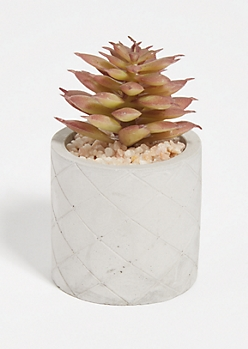 Purple Faux Succulent Etched Clay Pot
