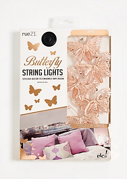 Rose Gold Butterfly String Lights