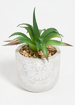 Faux Aloe Succulent Floral Etched Clay Pot