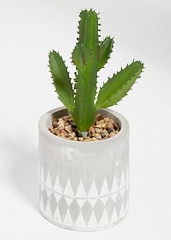 Faux Cactus Succulent Geo Etched Clay Pot