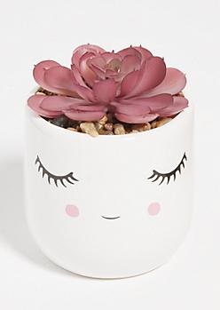 Faux Succulent Plant Eyes Closed Vase