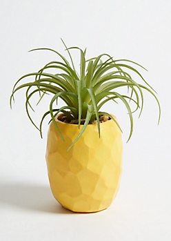 Mini Yellow Painted Pineapple Faux Succulent