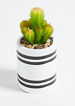 Mini Painted Clay Pot Faux Cactus