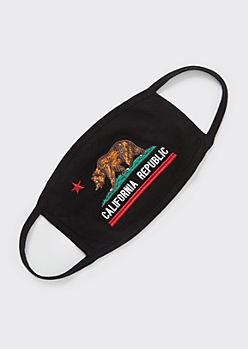 Embroidered California Bear Face Mask