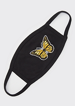 Black Butterfly Embroidered Fashion Face Mask