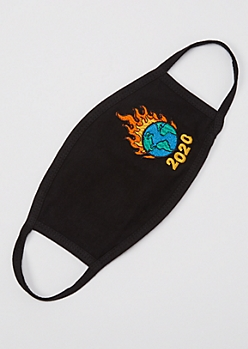 Black Flaming 2020 Embroidered Face Mask