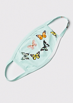 Mint Butterfly Print Fashion Mask