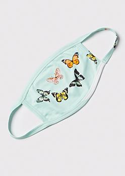 Mint Butterfly Print Fashion Mask