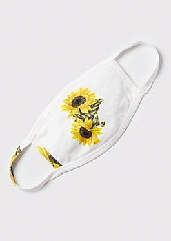 White Sunflower Print Fashion Mask