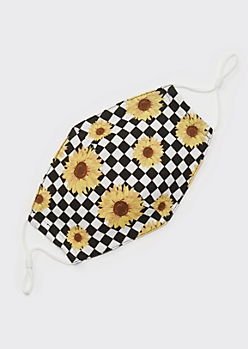 Checkered Sunflower Print Contoured Face Mask