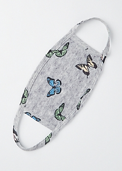 Gray Butterfly Fashion Face Mask