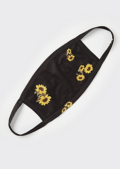 Black Sunflower Fashion Face Mask
