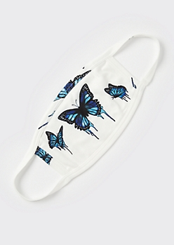 White Drippy Butterfly Fashion Face Mask