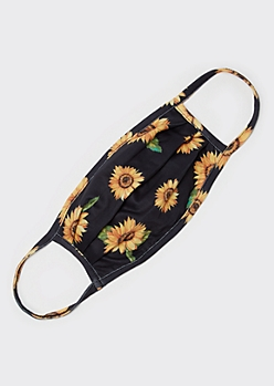 Black Sunflower Fashion Face Mask